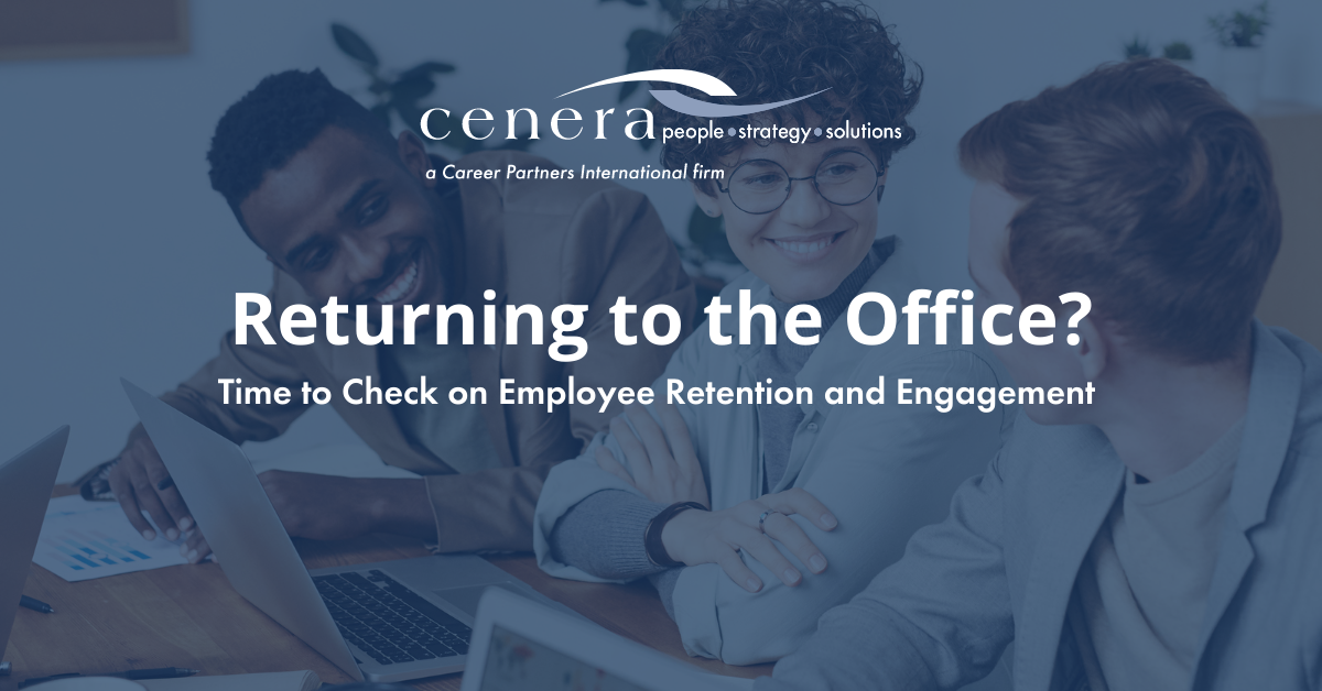 Returning to the Office? text is shown on blog banner with three employees sitting at a table smiling at each other